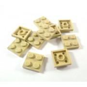 LEGO Bricks - Plancha (10 unidades, 2 x 2 pivotes), color beige