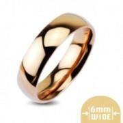 Domború, fényes fém gyűrű vörösarany színben