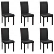 vidaXL 6 x jídelní židle černá kůže