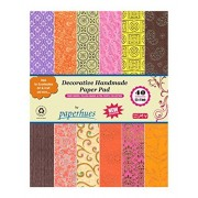 """Paperhues Pink-Yellow-Brown Decorative Paper Pad 8.5x11"""", 40 Sheets. Forever Collection. Specialty Handmade Origami Papers for Gift Wrap, Cards, Scrapbooking, Decor, Art & Craft. Celebration Pad."""