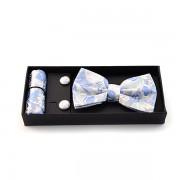 Accesorii barbati argintii cu floricele albastre
