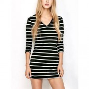 GearBest Bodycon Striped T-Shirt Dress