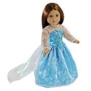 Elsa Inspired Princess Doll Clothes for American Girl Dolls: Stunning Snowflake Sparkle Dress By Dress Along Dolly by Dress Along Dolly