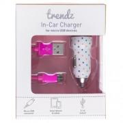 Incarcator auto & cablu Trendz Bullet 2100mAh Polka Dot microUSB