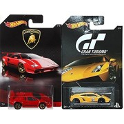 Hot Wheels Lamborghini Exclusive Gran Turismo gallardo lp 570-4 superleggera yellow & 2017 The Best of Lamborghini Red Countach #1 in PROTECTIVE CASES