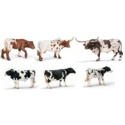 Schleich Texas Longhorn / Holstein Cow Family Set 6 Syles: Includes Cow, Bull And Calf