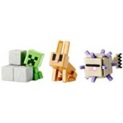 Set 3 Figurine Minecraft Elder Guardian, Sneaky Creeper and Rabbit