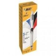 Bic 4 Couleurs 3+1hb - 3 Color Ballpoint Pen And Mechanical Pencil Combo - Noir, Rouge, Bleu, Gris - Rétractable - Avec Gomme - Pack De 12