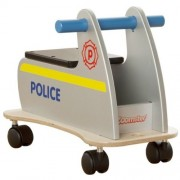 Millhouse Zoomster Police Wooden Ride-On (Silver. Black And Blue With Yellow Stripe)
