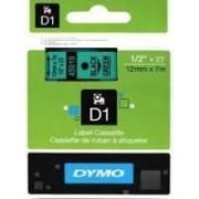 Dymo D1 Label Cassette 12mmx7m (SD45019) - Black on Green
