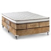 Conjunto Box Colchão Castor Molas Pocket Eurotop Supreme + Cama Box Nobuck Cafe - Conjunto Box King Size - 193 x 203