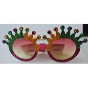 Sparkling Statue of Liberty with Jewels Shape Sun Glasses for Kids (Green golden Pink)