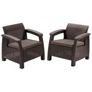 Corfu duo fotel műrattan kerti bútor Barna, taupe párnával ALLIBERT