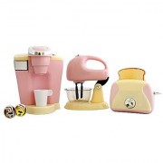 PlayGo Pretend Play Gourmet Kitchen Appliance Set - Single Serve Coffee Maker Mixer & Toaster 3 Piece Pink