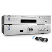 "Auna ""ELEGANCE TOWER BLUETOOTH"", argintiu, 2.0 kituri HIFI, CD-PLAYER MP3 + AMPLIFICATOR 600 W (PL-8983-8978)"