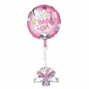 Balon folie 45cm Baby Girl cu decor 3D, Amscan 27187