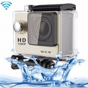 N9 1080P HDMI Waterproof Sport Action Camera Professional Portable 2.0 inch Screen 140 Degrees Wide Angle Lens Support WiFi Function Water Resistant Depth: 30M(Gold)
