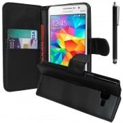 Samsung Galaxy Grand Prime Sm-G530f/ (4g) Sm-G531f/ Duos Tv Sm-G530bt/ G530fz G530y G530h G530fz/Ds: Etui Portefeuille Livre Housse Coque Pochette Support Vidéo Cuir Pu + Stylet - Noir
