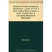 Moleskine Postal Notebooks Assortment Large: 48 Pcs: 8 Red, 8 Navy Blue, 8 Maize, 8 Kraft, 8 Light Grey, & Terracotta