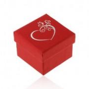 Piros doboz gyűrűre vagy fülbevalóra, díszes szív ezüst színben, lepkék