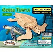 Puzzled Green Turtle Wooden 3D Puzzle Construction Kit