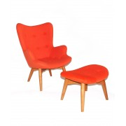 Replica Grant Featherston Contour Chair & footstool - orange soft cashmere