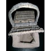 Picknickkorb mini aus Rattan mit Stoffbezug