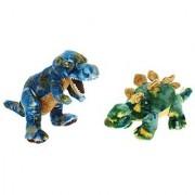 Bundle of 2 Aurora Plush Stuffed Animal Dinosaurs - T-Rex & Stegosaurus