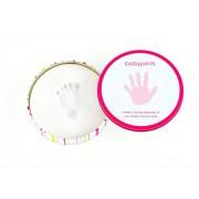 Pearhead 82012 Babyprints Scatolina in Metallo per le Impronte della Manina o del Piedino, Rosa