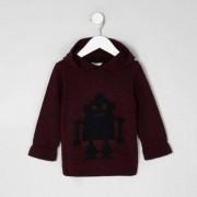 River Island Mini boys Red knit robot hooded jumper