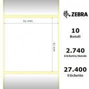 Zebra Z-Perform 1000T - Etichette in carta normale (vellum) di colore bianco, formato 51 x 51 mm.