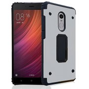 SDO™ [Hybrid Shield] High Impact Heavy Duty TPU + Metal Dual Layer Armor Shockproof Case Back Cover for Xiaomi REDMI NOTE 4 (Silver)
