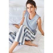 Womens Next Wide Stripe Pants - Blue/White Sleepwear Nightwear