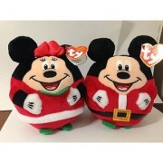 NEW 2013 Ty Beanie Ballz Mickey Mouse & Minnie Mouse Christmas 5.5 inches