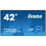iiyama ProLite LH4281S-B1 42' Super Slim, 1920x1080, IPS panel, 6,5mm bezel width, DP, DVI, 2xHDMI, Video, USB Media, Speakers, 500 cd/m², 1300:1 Static Contrast, 8ms