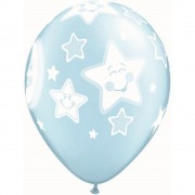 "Baloane latex 11"" inscriptionate Baby Moon & Stars Pearl Light Blue, Qualatex 24941"