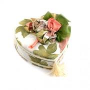 Cutie pentru bijuterii inima cu plus verde flori si oglinda