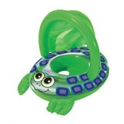 Swim School Sea Turtle Baby Boat. The Baby Pool Float Helps Introduce Your Baby to Water. The Removable Sunshade Has UPF