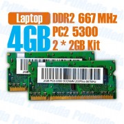 Memorie Laptop DDR2 2 x 2 GB (4GB) 667 MHz PC 5300 Testate Garantie 6 Luni