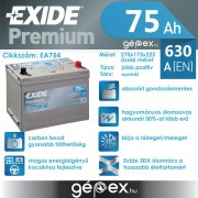 Exide Premium 75Ah 630A J+ japán