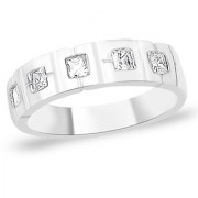 Sterling Silver Band style CZ Finger Ring By Taraash