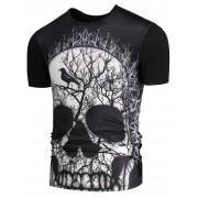 rosegal 3D Skull Branch Printed Round Neck T-shirt