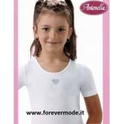Antonella 3 Maglie bambina Antonella manica corta in cotone con ricamo