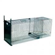 Capcană umană (cușcă) cu compartiment pentru momeală vie - capturează dihori, jderi, iepuri, vulpi, pisici sălbatice, câine raton 119x47x36