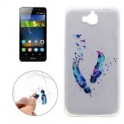 For Huawei Y6 Pro Feather Pattern Transparent Soft TPU Protective Back Cover Case