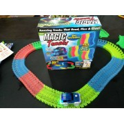 Magic Tracks Bend Flex Glow Dans Le Dark Assembly Toy 165pcs Race Track + 1pc Led Car