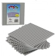 Brick Building Base Plates By SCS - Small 5 x5 Grey Baseplates (10 Pack) - Tight Fit with All Major Brick Sets