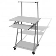 vidaXL Počítačový stůl s výsuvnou deskou - bílý
