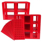Premium Big Briks Red Baseplate Tower Construction Set - 96 Pack Bundle (Big LEGO DUPLO Compatible) - Large Pegs