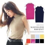 【SALE開催中】インナーとしても着回し力絶大!ストレッチリブニット♪ハイネックノースリーブニットトップス/タンク[N898]